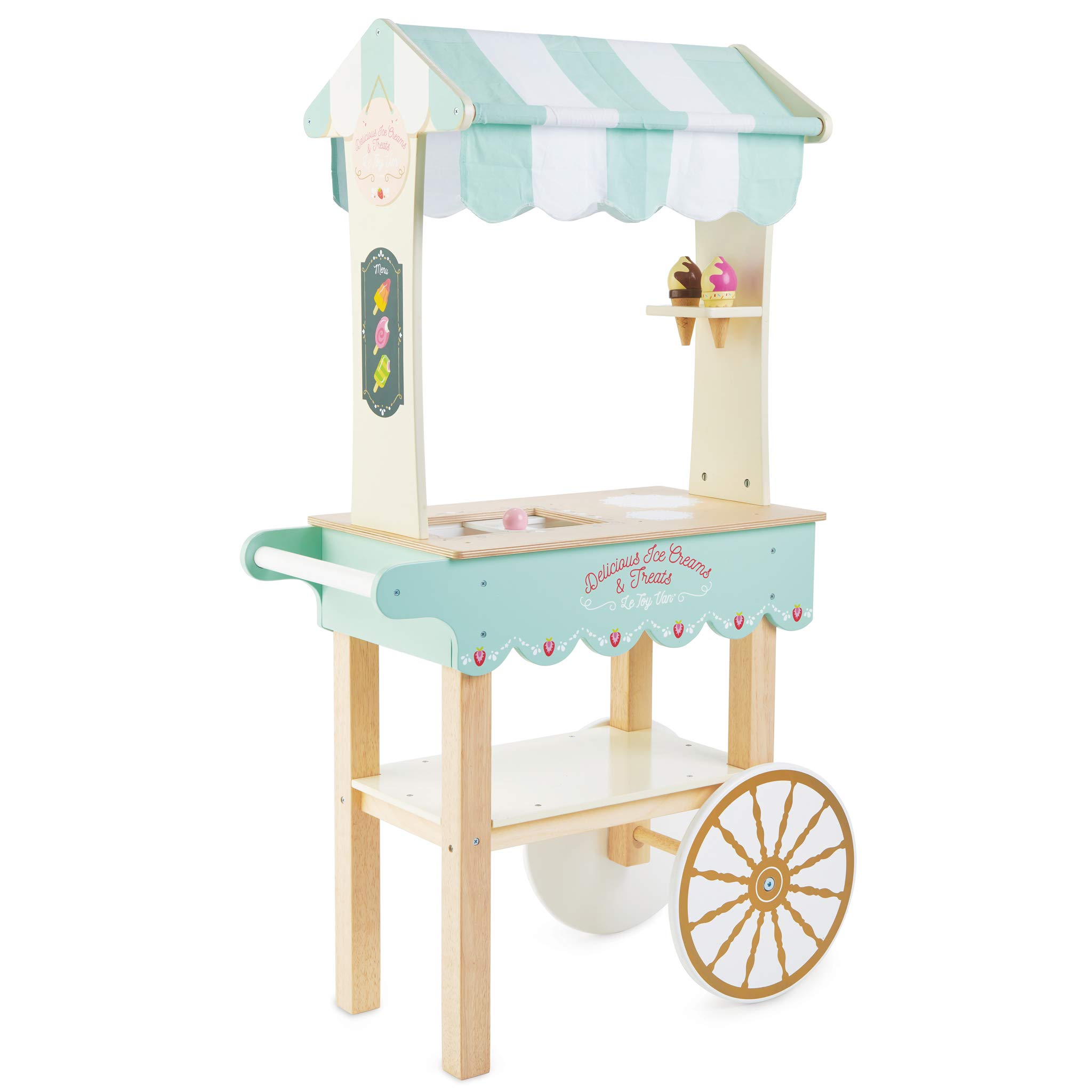 Le Toy Van - Educational Wooden Toy Role Play Ice Cream Trolley | Boys Or Girls Pretend Play Toy Food Playset - for Ages 3+