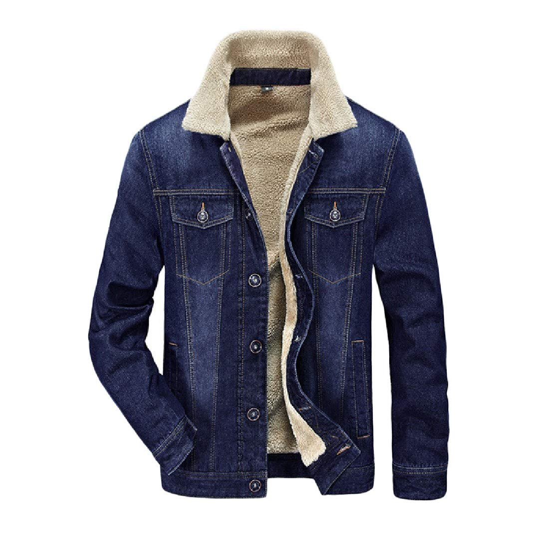 NicellyMen Autumn Classic Army Warm Denim Overcoat Jacket