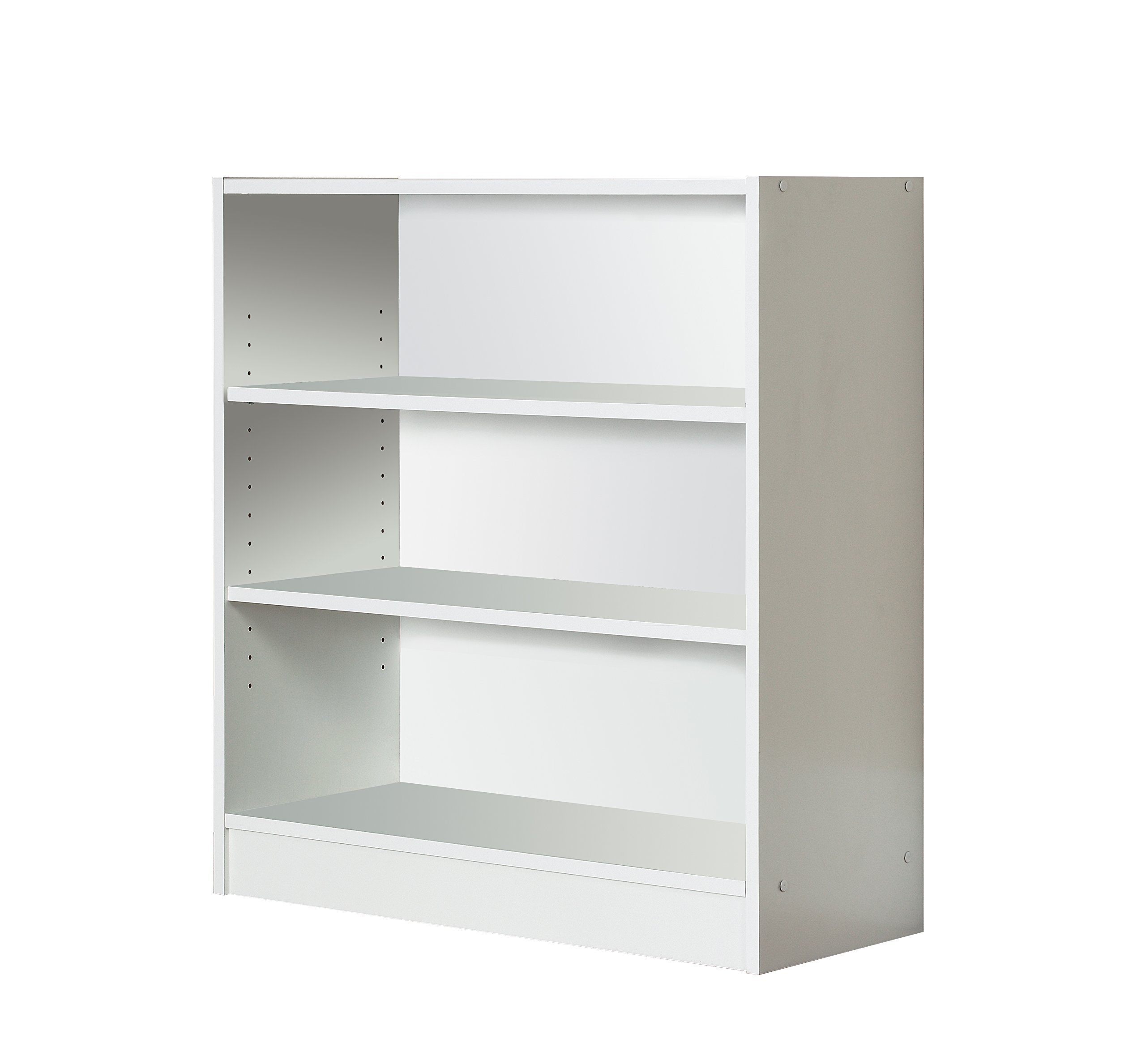 Mylex Three Shelf Bookcase; Two Adjustable Shelves; 11.63 x 29.63 x 31.63 Inches, White, Assembly Required (43061)