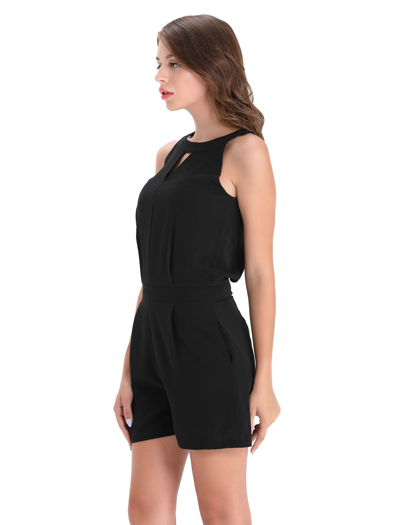BARGOOS Women All-Black Cut Out Halter Neck Rompers Sleeveless Playsuit Summer Casual High Waist Mini Jumpsuits by BARGOOS (Image #4)
