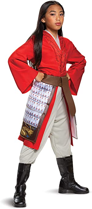 Amazon Com Mulan Costume For Girls Deluxe Disney Live Action Movie Hero Dress Up Character Outfit Kids Size Extra Small 3t 4t Red Clothing