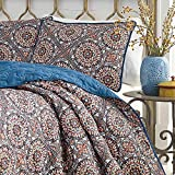 3pc Color Full Queen Size Duvet Cover Set, Microfiber Polyester, Vibrant Blue Red Indigo Southwest Theme Bohemian Geometric Medallion Pattern Bedding Shabby Chic Casual Modern