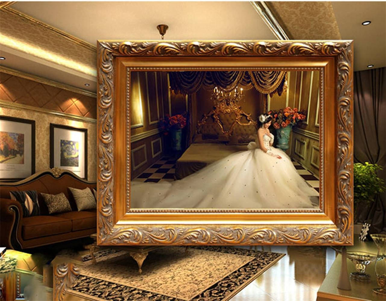 GuiXinWeiHeng Picture frame vintage photo frame frame oil painting frame , B , diameter 50 60