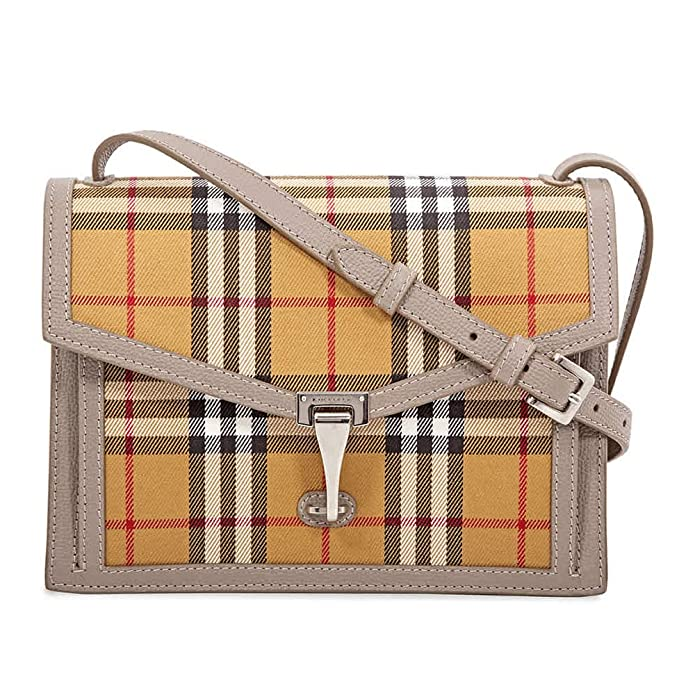 Burberry Taupe Brown Small Macken Vintage Check Leather Canvas Bag Handbag New