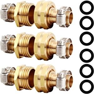 """YELUN Solid Brass Hose Repair Connector with Stainless Steel Clamps,Fit for 5/8"""" Garden Hose Fitting,Male and Female Hose Fittings(5/8""""-3 Set)"""