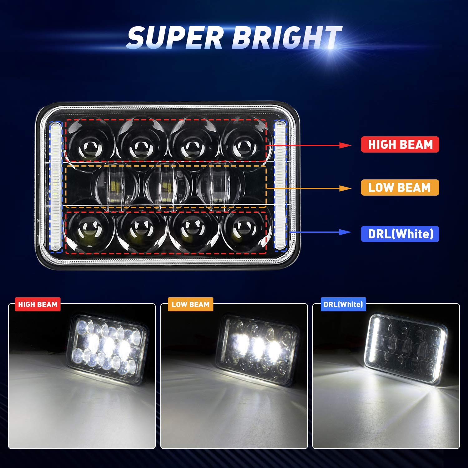2PCS 4x6 LED Headlights with Brackets,EBESTauto 60w Sealed Beam Led Headlight bracket with High Low Beam DRL Rectangle Headlight Replacement for Truck H4651 H4652 H4656 H4666 H6545