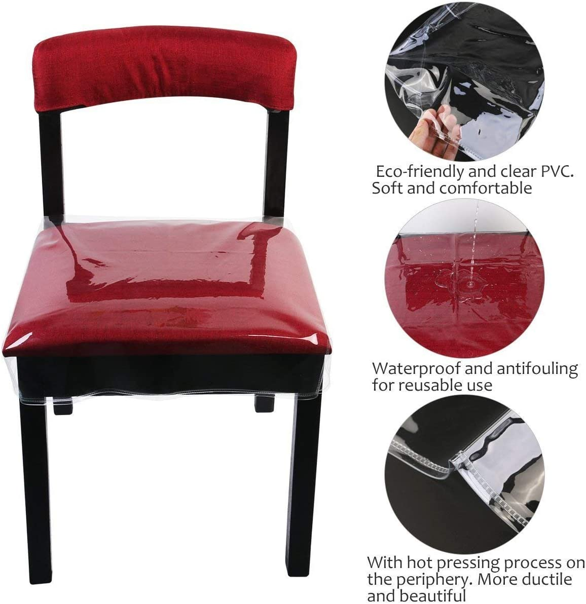 Chair Protector Waterproof PVC Dining Chair Covers Removable, 48x45.7x10cm, 2 Pack