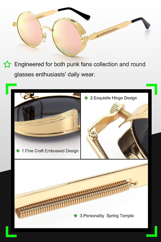 GQUEEN Steampunk redonda Retro Met/álico gafas de sol polarizadas para hombres y mujeres con protecci/ón UV400 MTS2