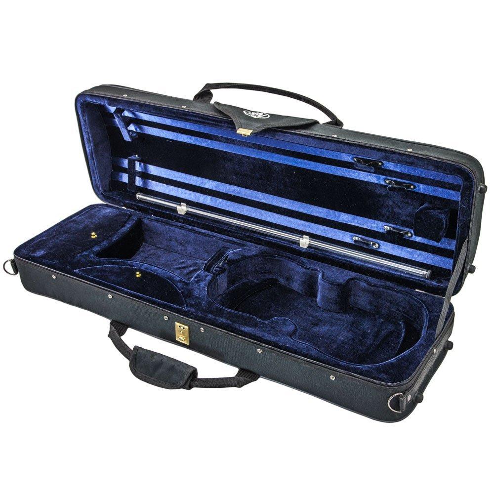 SKY 4/4 Full Size Acoustic Violin Oblong Case Lightweight with Hygrometer Black/Dark Blue