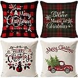 YEBIRAL Fundas de Cojines Navidad Lino Suave Vintage Cuadros ...
