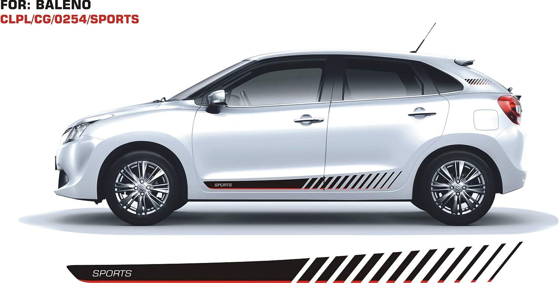 Automaze Quara Car Side Decal Full Body Sticker Graphics For Maruti Suzuki New Baleno Black And Grey Amazon In Car Motorbike [ 761 x 1500 Pixel ]