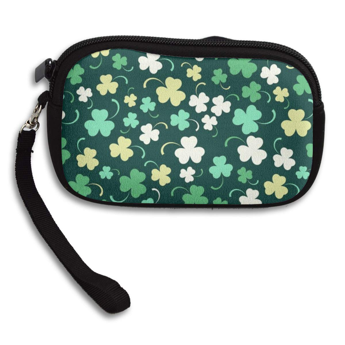 Coin Purse Green Watercolor Shamrock Coin Pouch With Zipper,Make Up Bag,Wallet Bag Change Pouch Key Holder
