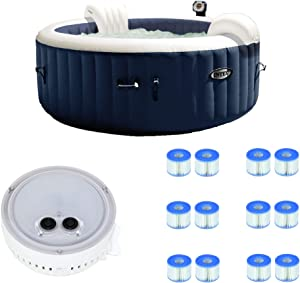 Intex 28405E PureSpa 4 Person Home Outdoor Inflatable Portable Heated Round Hot Tub Spa 58-inch x 28-inch with 120 Bubble Jets, Battery Color Changing LED Light, and 12 Type S1 Filter Cartridges