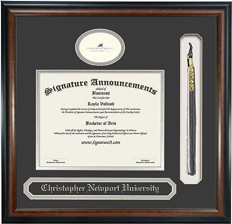 Amazon Com Signature Announcements Christopher Newport University Undergraduate Sculpted Foil Seal Name Tassel Graduation Diploma Frame 20 X 20 Matte Mahogany Home Kitchen