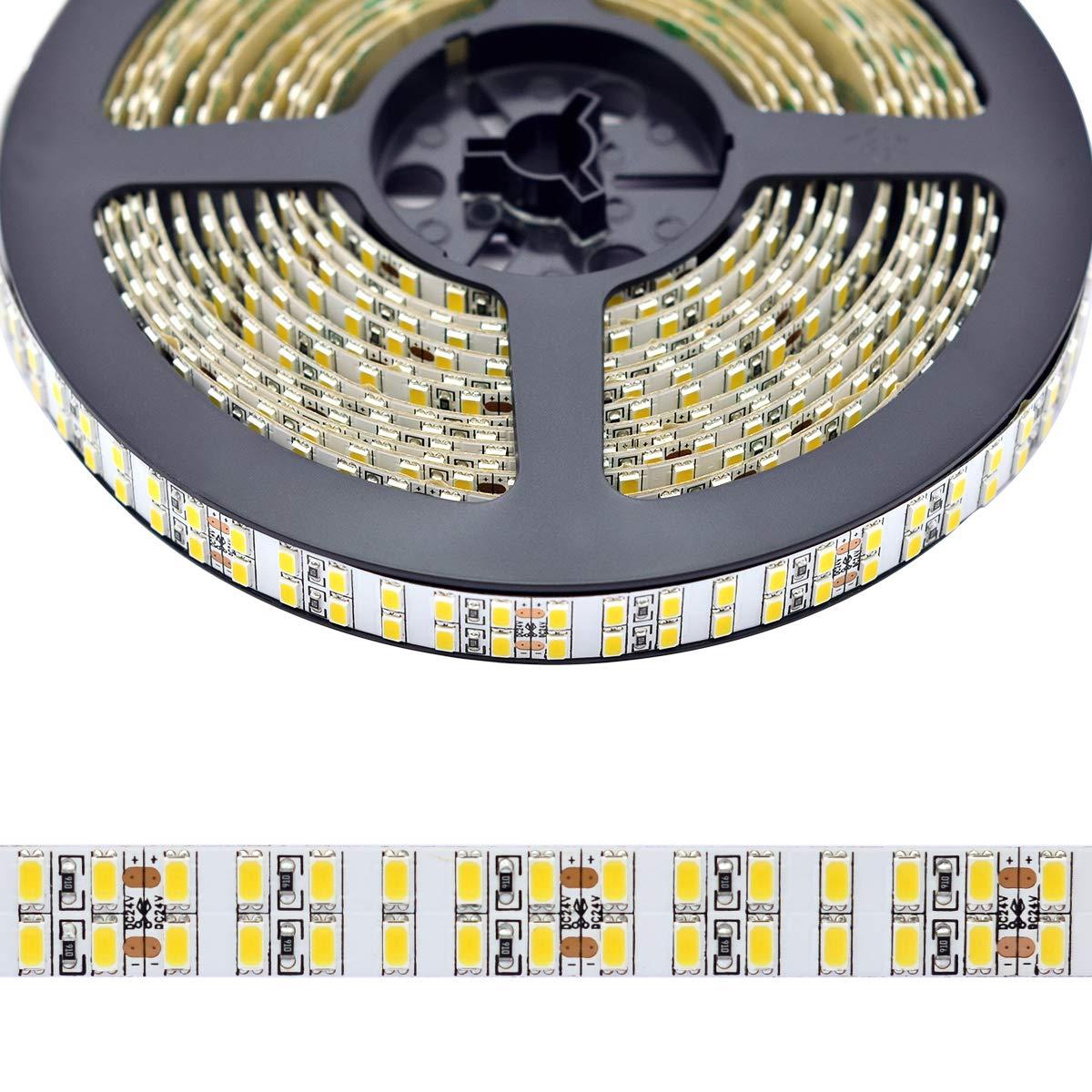 Dual Row Flexible LED Strip Lights, CRI 92 DC24V 5630SMDs 1200 LEDs 5M/16.4Ft Super Bright LED Tape Lighting, Daylight White 6000K Brighter Than Quad Row LED Light Strips