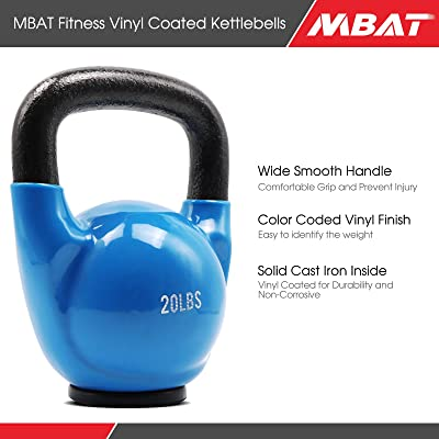 Vinyl Coated Kettlebell Weight Set Solid Cast Iron Strength Training 5,10,15 LBS