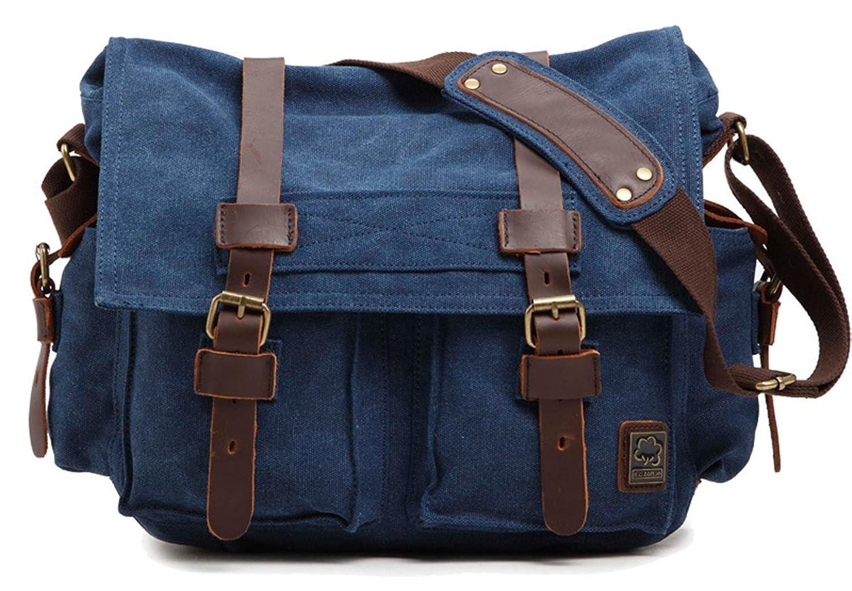 Sechunk Canvas Leather Messenger Bag Shoulder Bag Cross Body Bag For Men Military Travel Women School Boys Girls Teen Soft Strap 17 Inch Laptop Camera Purse Crossbody