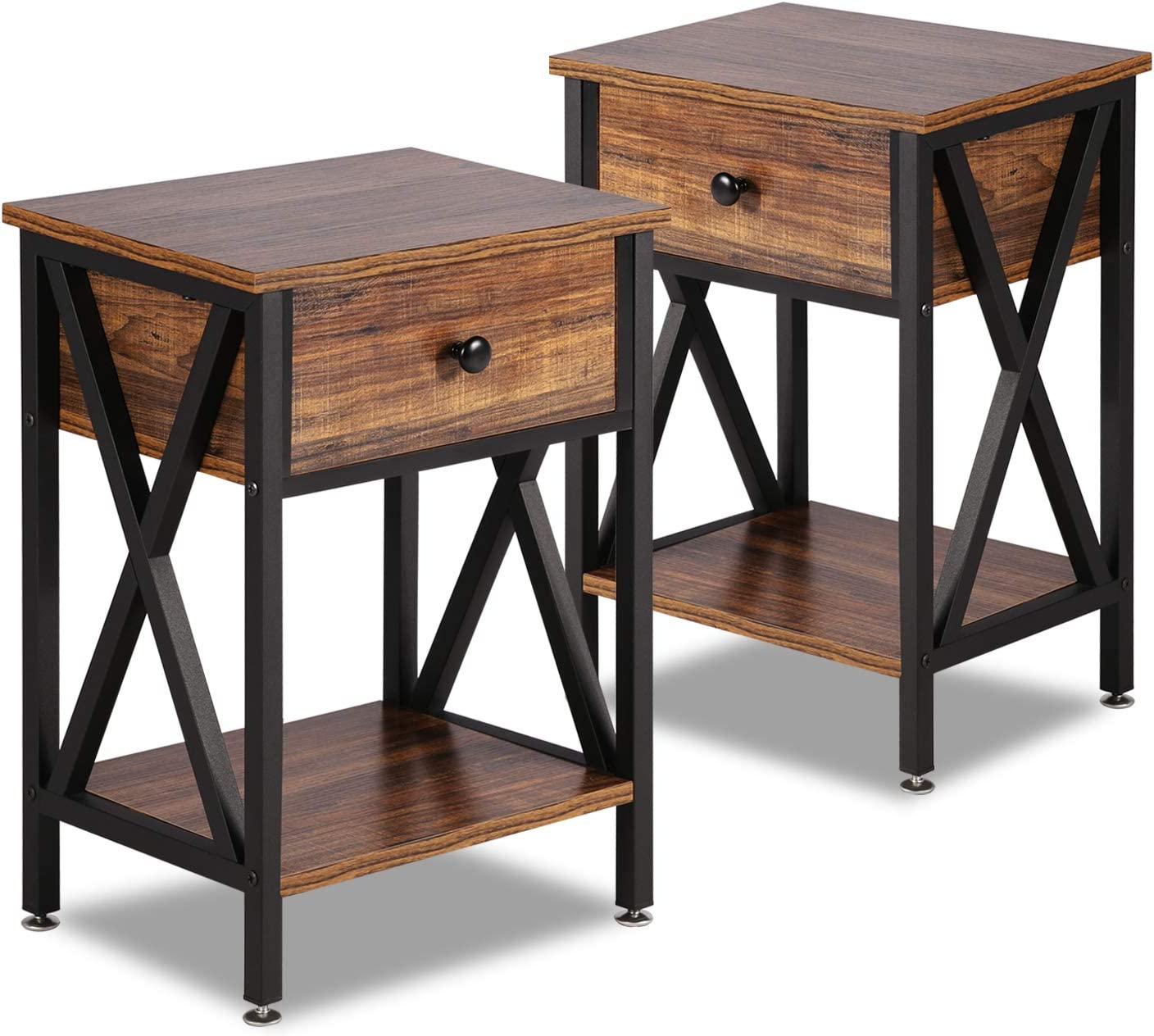 VECELO Modern Versatile Nightstands X-Design Side End Table Night Stand Storage Shelf with Bin Drawer for Living Room Bedroom, Set of 2 (Brown)