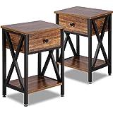 VECELO Modern Versatile Nightstands X-Design Side End Table Night Stand Storage Shelf with Bin Drawer for Living Room Bedroom