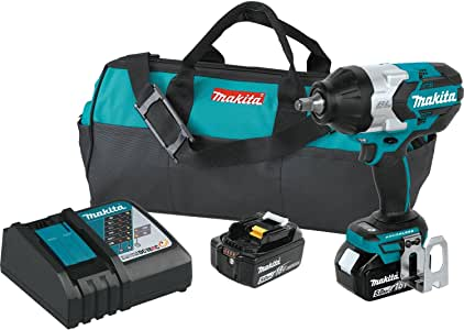 "Makita XWT08T 18V LXT Lithium-Ion Brushless Cordless High Torque 1/2"" Sq. Drive Impact Wrench Kit w/ Friction Ring Anvil (5.0Ah),"