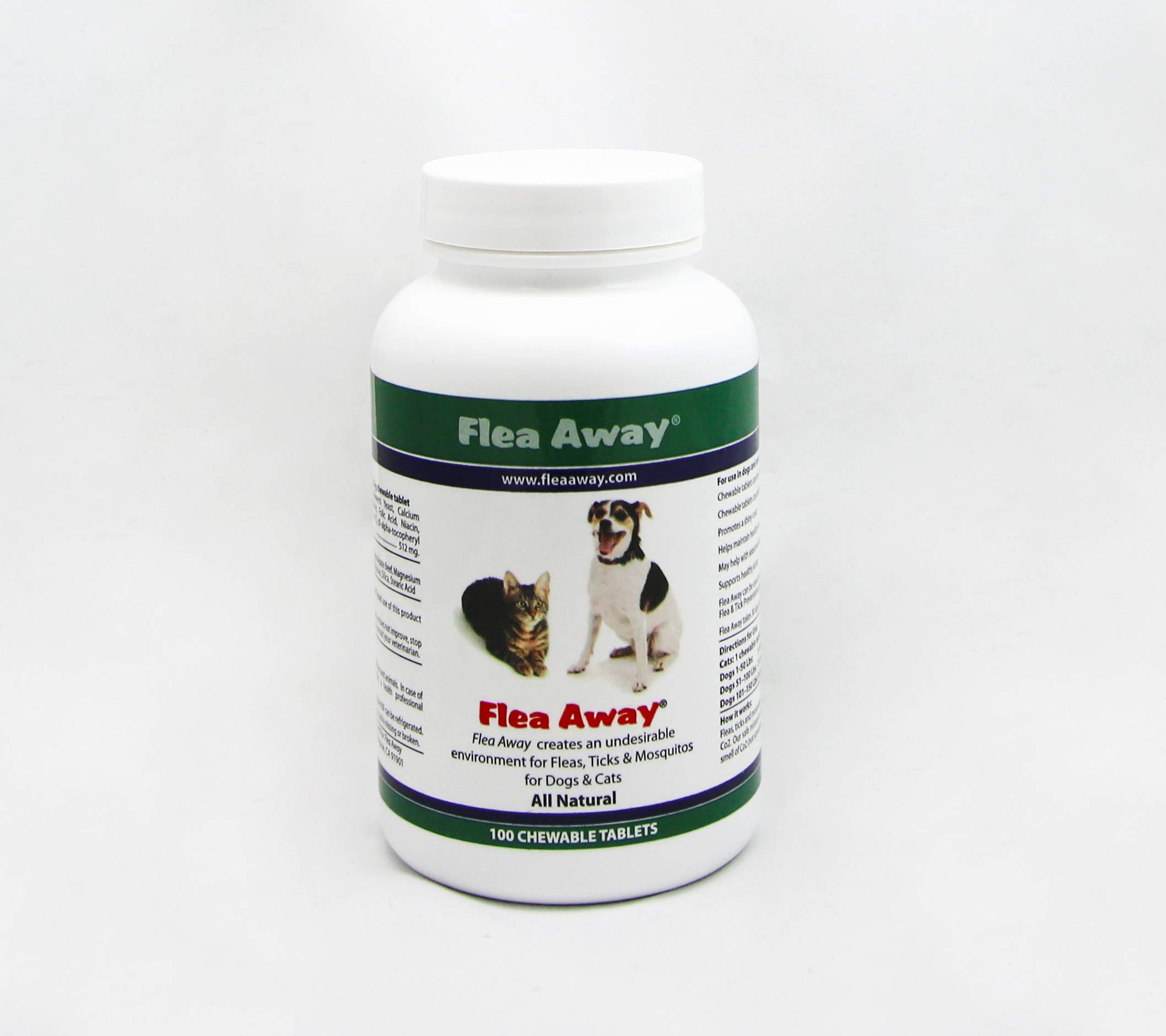 Flea Away All Natural Flea, Tick, Mosquito Repellent for Dogs & Cats, 100 Chewable Tablets, Single by Flea Away
