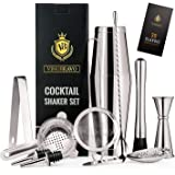12-Piece Bartender Kit Boston Cocktail Shaker Bar Set by VinoBravo : 2 Weighted Shaker Tins, Strainer Set, Double Jigger…