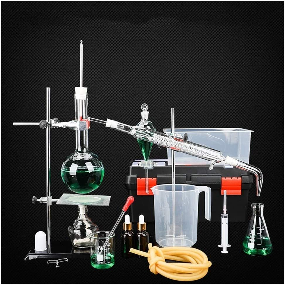 Sucastle Lab Essential Oil Distillation Apparatus Glass Distillation Apparatus Chemistry Glassware Set with Condenser Flask for Home Industrial Science Teaching