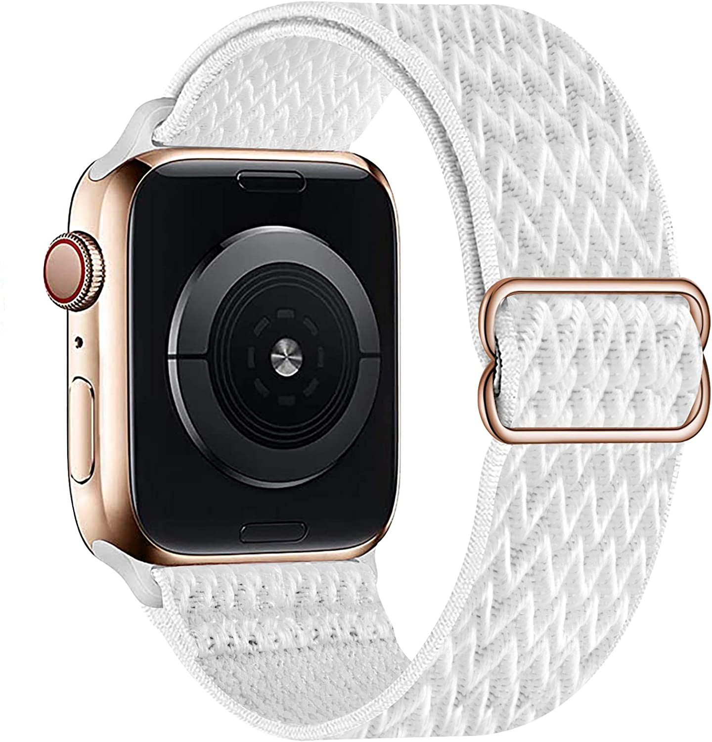 OHCBOOGIE Stretchy Solo Loop Strap Compatible with Apple Watch Bands 38mm 40mm 42mm 44mm ,Adjustable Stretch Braided Sport Elastics Weave Nylon Women Men Wristband Compatible with iWatch Series 6/5/4/3/2/1 SE,Summit white,42/44mm