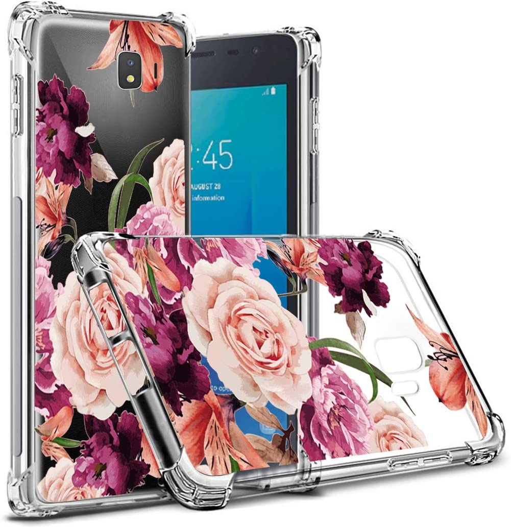 for Samsumg Galaxy J2 Core Case,for Galaxy J2 Pure/J2 Dash/J2 (2019) Core Floral Case, for Girls Women Shock-Absorption Flexible TPU Rubber Soft Silicone for Samsumg Galaxy J2 Core (Purple Flower)