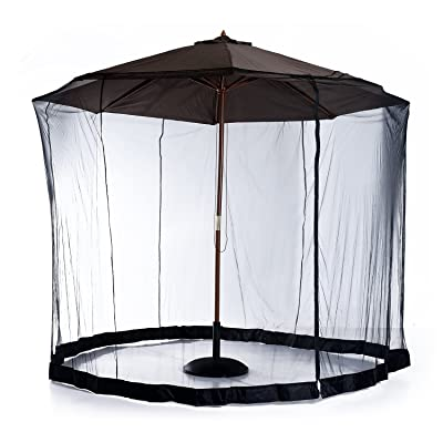 Outsunny 7.5' Outdoor Patio Mosquito Screen for Umbrellas Mosquito Screen Net with Canopy House with Woven Net, Black : Garden & Outdoor
