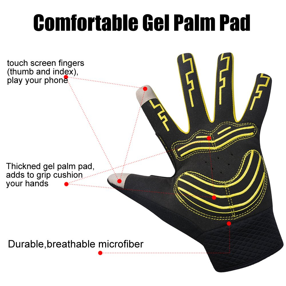 MOACC Cycling Gloves Shock-absorbing Gel pad Breathable Anti-slip Wearable Abrasion Full Finger Moutain Bike Road Racing Bicycle (L)