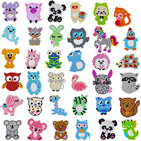 NUOBESTY Kids DIY Diamond Painting Kit Cartoon Animal 5D Diamonds Refrigerator Magnets Kids DIY Paint Stickers Arts and Crafts Dotz Kits Butterfly