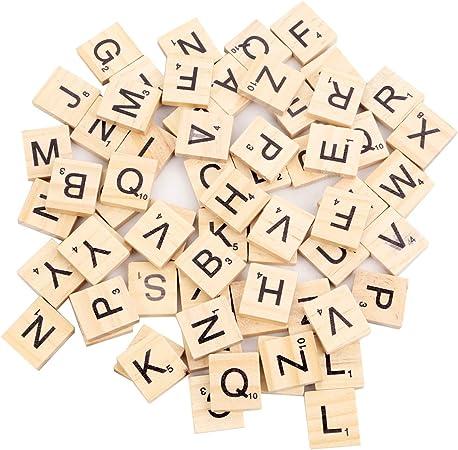 TOMYEER 100 Piezas Scrabble Letras Scrabblefliesen al Spielenie: Amazon.es: Hogar