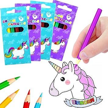 German Trendseller® 24 x 6 lápices de colores┃ desino unicornio ┃fiestas infantiles┃ idea de regalo┃piñata┃cumpleaños de niños┃144 unidades