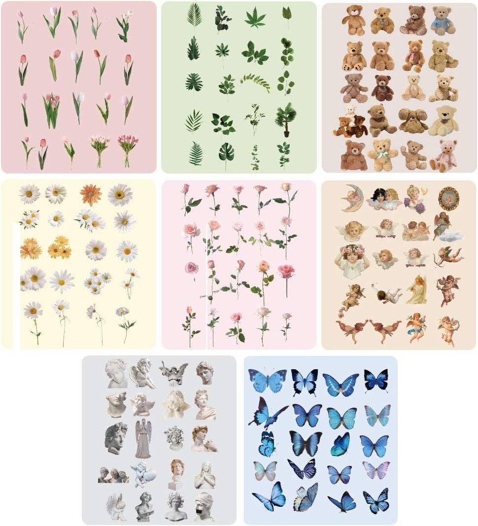 Maleta NogaMoga 6 Hojas de Pegatinas Decorativas Transparentes de Vinilo Bullet Journal Pegatinas de Temas de la Naturaleza para Tablet Set de Pegatinas de Flores Agenda Movil
