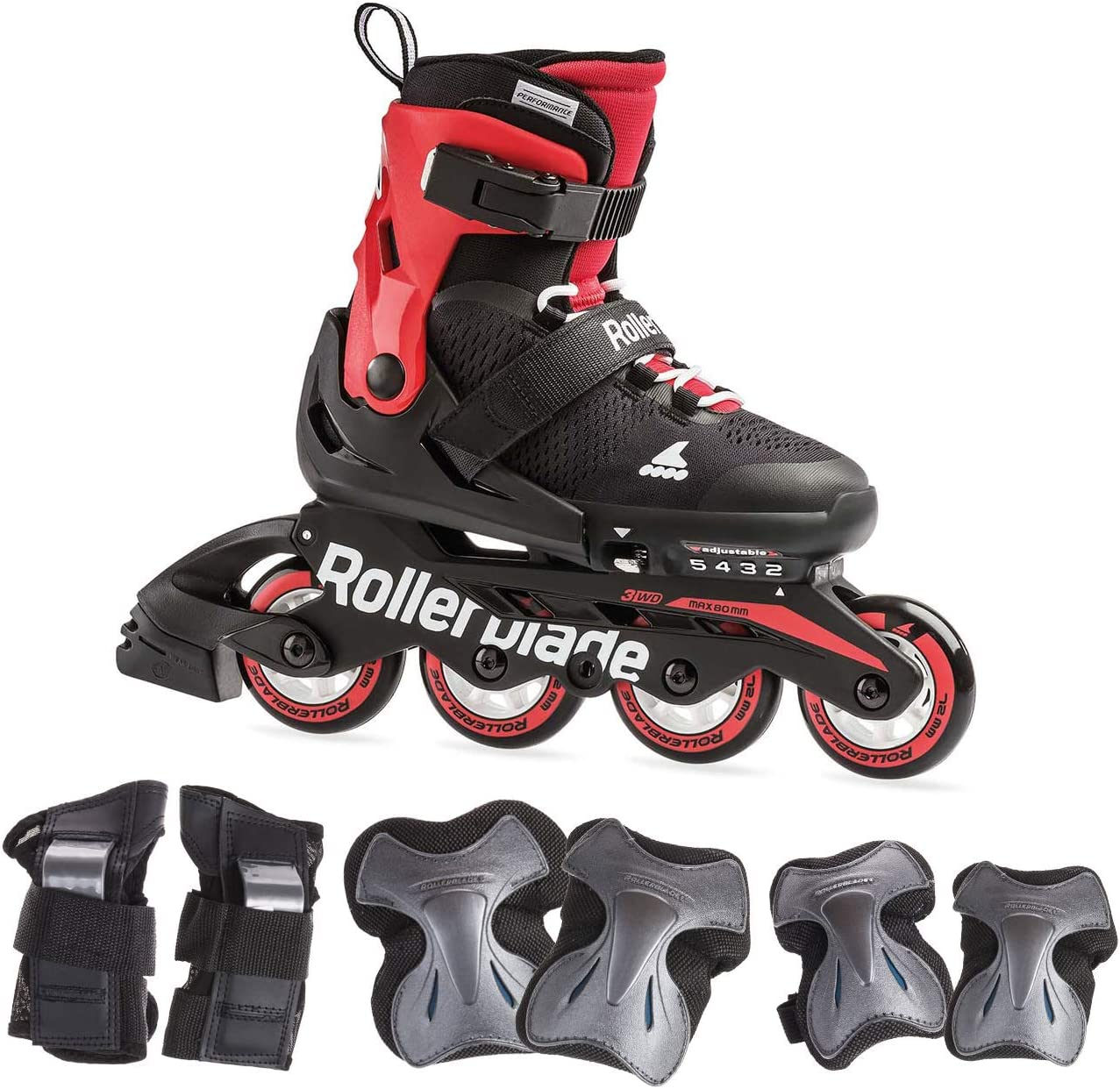 Rollerblade Microblade Boy s Adjustable Fitness Inline Skates and 3 Pack of Protective Gear , Black and Red, Junior, Youth Performance Inline Skates
