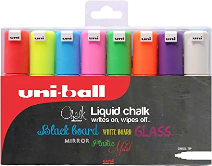UNI Posca Set PC-8K Chalk Tiza Borrable - Pack de 8 rotuladores ...