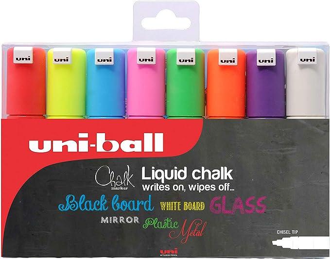 uni-ball Kreidemarker Chalk PWE-5M 4er-Etui 2 x weiß 1 x silber 1 x gold