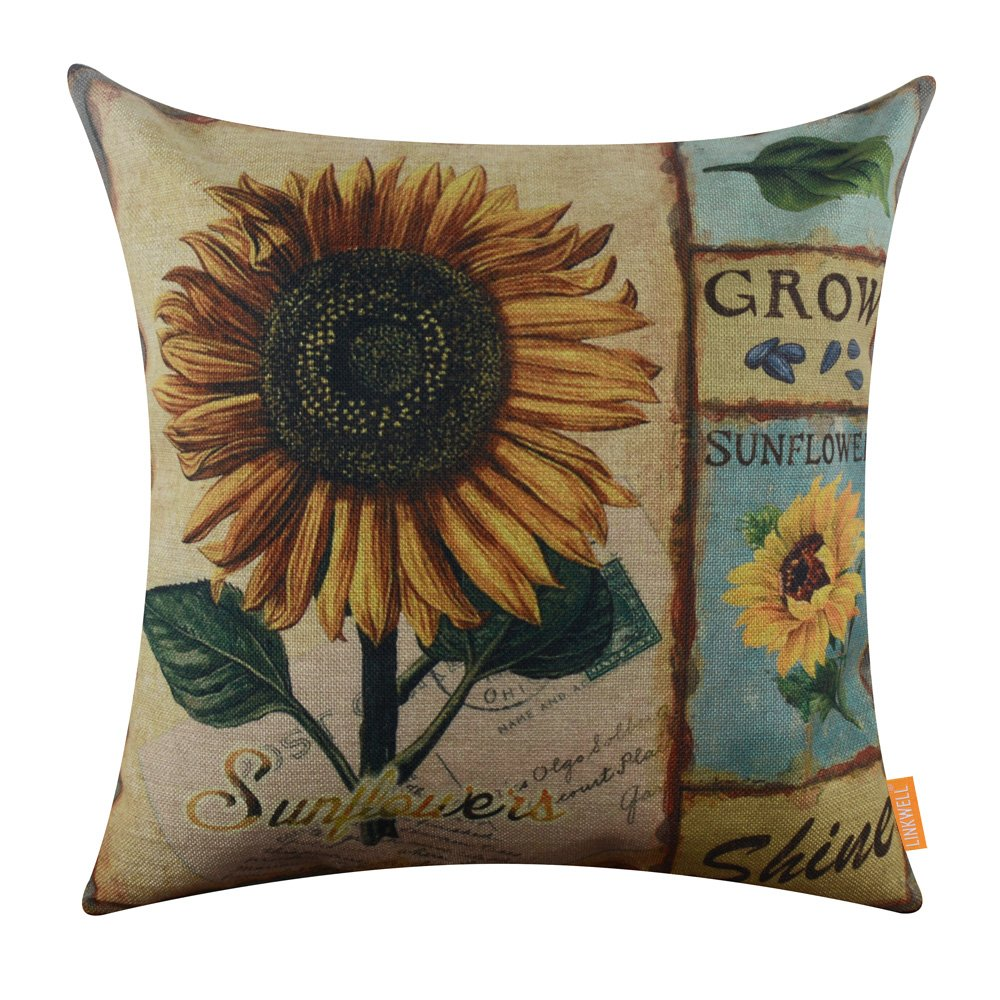 LINKWELL 18 x18 inch Shabby Chic Vintage Sunflower Retro Burlap Cushion Covers Pillow Case CC1252