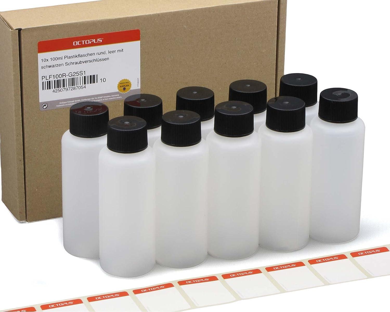 10 x 100ml botellas de plástico redondas de HDPE, vacías, 25 mm de diámetro de rosca, 10 unidades con tapón: Amazon.es: Oficina y papelería