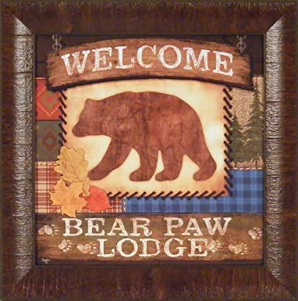 15x15 FRAMED ART PRINT Sign Cabin Tracks WELCOME BEAR PAW LODGE by Mollie B