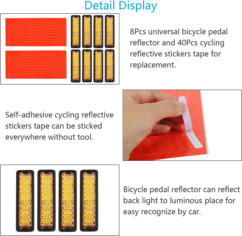 LOPOTIN 13tlg Fahrradpedal Reflektoren Fahrrad Pedalreflektor 8 Pedale Reflektor mit 5 Orange Reflektierende Aufkleber Lechtend Fahrradpedal Bike Zubeh/ör Sicher Pedalr/ückstrahler f/ür Radfahren MTB