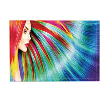 nymb Fashion de baño Rugs, Teen Girls Arcoíris hermoso pelo impresión colorida flotador, antideslizante
