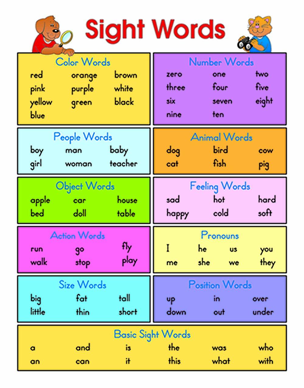 Sight Words on 20 Free Printable Number Worksheets For Preschool