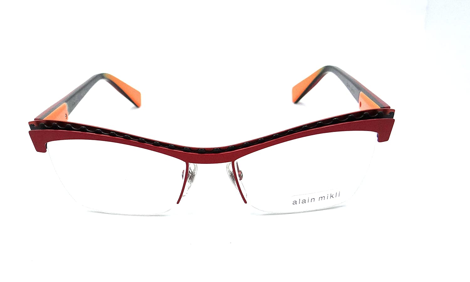 9a490ba0a2 Alain Mikli Rx Eyeglasses Frames A02017 M0JA 52x17 Red   Black   Orange  France at Amazon Men s Clothing store