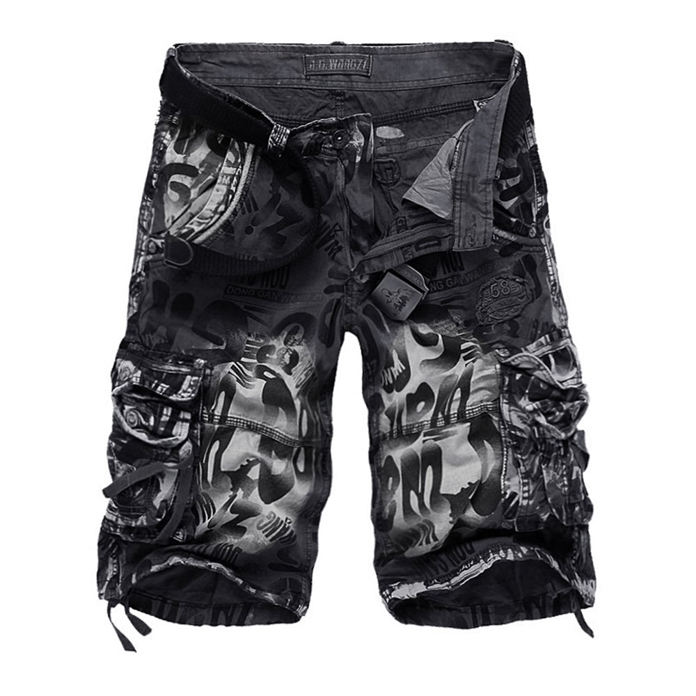 NiuZi Mens Loose Fit Cargo Shorts Camo Multi Pockets Summer Outdoor Wear Camouflage Pants (Grey Camo, US 36(Lable 38))