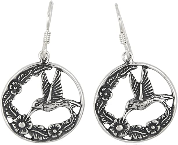 Flying Sparrow Dangle Hook Earrings Sterling Silver