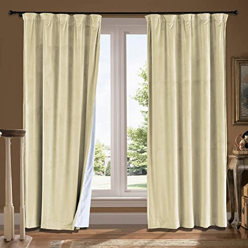 cololeaf Extra Long and Wide Velvet Curtains Flat Hooks Blackout Lined Curtain Thermal Insulated Patio Door Curtain Panel Drape