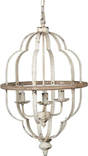 A B Home Distressed White Iron 3-Light Chandelier