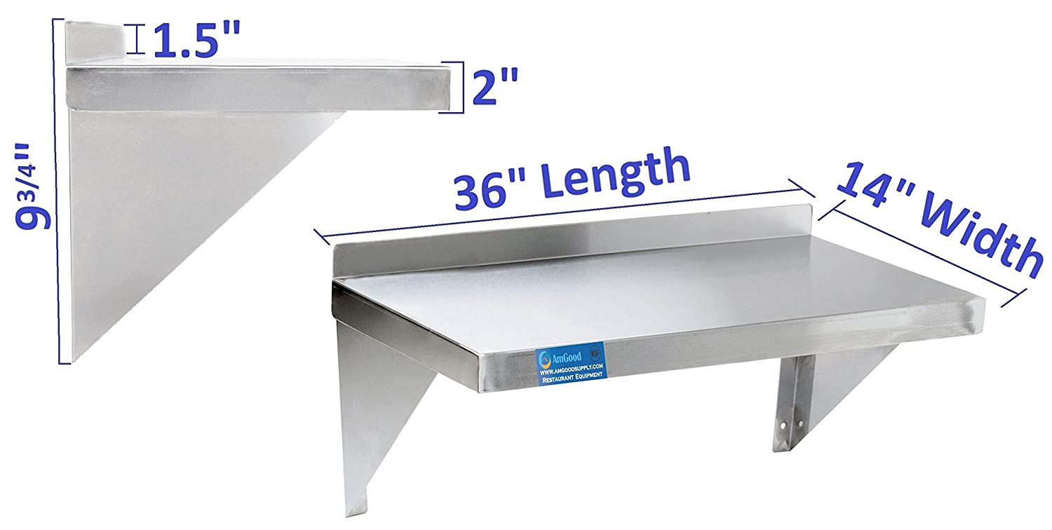 Wall Mount Square Edge Heavy Duty NSF Certified AmGood 14 Width x 36 Length Stainless Steel Wall Shelf Commercial Grade Metal Shelving